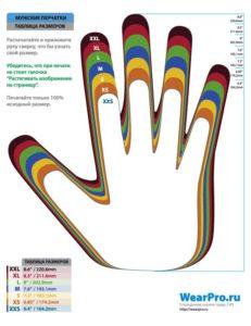 Универсальная таблица размеров мужских перчаток